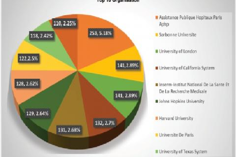 Top 10 Organisation of HCQ research publications