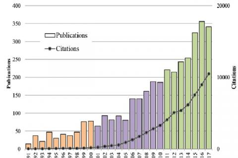 Distribution of publications and citations in the field of innovation studies by year for the period 1990 – 2017